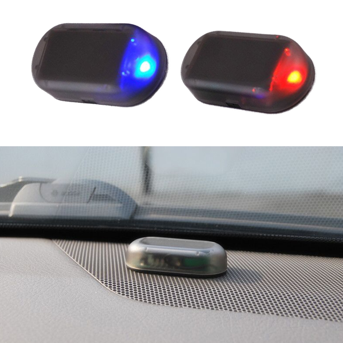 1PCS Universal Car Simulation Alarm Led Light Security Fake Solar System Warning Theft Flash Blinking Car