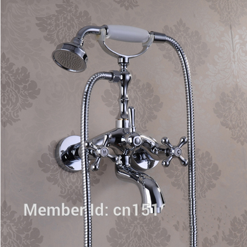 ФОТО New US Free Shipping Wholesale And Retail Classic Chrome Finish Wall Mounted Bathtub Faucet Mixer Tap Telephone W/ Spary Shower