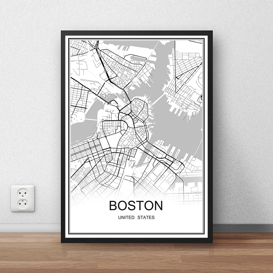 BOSTON USA City Street Map Print Poster Abstract Coated Paper Bar Cafe Pub Living Room Home