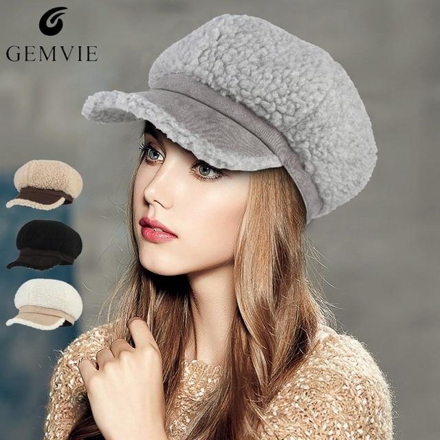 Sombreros de invierno las mujeres de felpa caliente boinas tapa de Color sólido  sombrero ruso dama 14a0f63bd92d