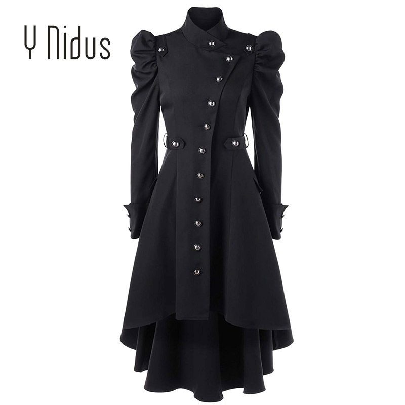 Trench   Coat Womens Aaymmetric Tops Steampunk Victorian Swallow Tail Long   Trench   Coat Single-Breasted Thin Outwear Plus Size