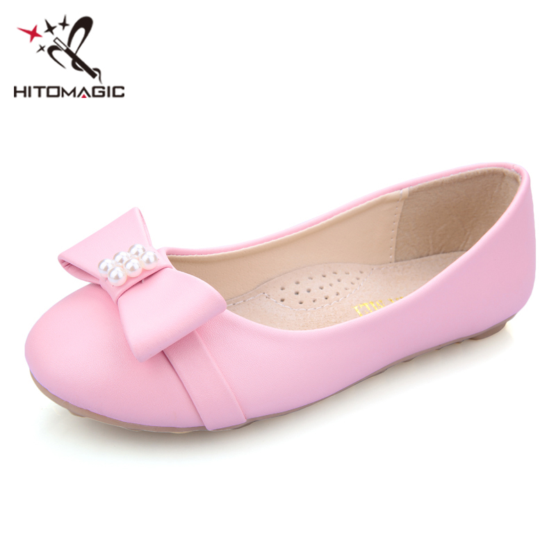 HITOMAGIC Girls Leather Shoes 2018 Spring Princess Shoes For Girls Big Kids Summer Footwear Sandals Bow High Quality For Wedding