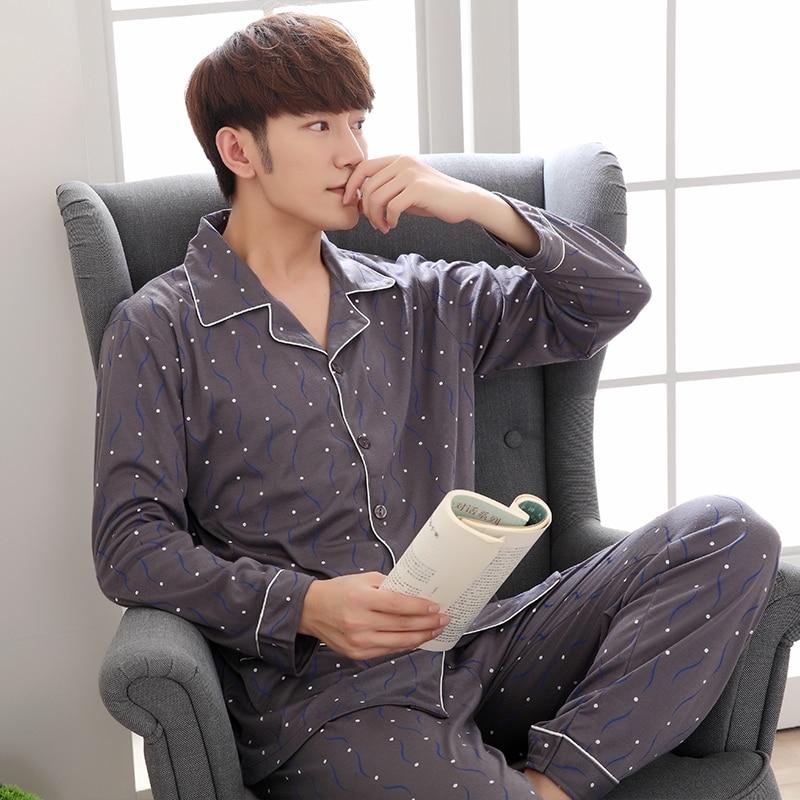 Men Clothing Man Pyjamas Set Cotton Long-sleeved Korean Sleepwear Male Homewear