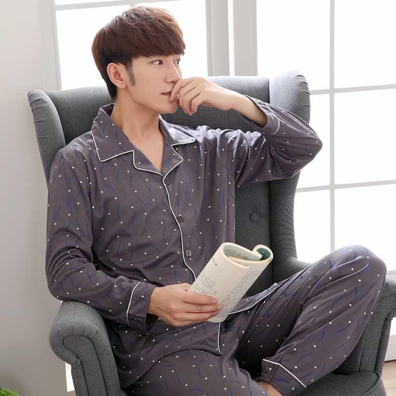 cdf4af8e78e01 Мужская одежда Мужская пижама комплект хлопок с длинным рукавом Корейская  одежда для сна Мужская домашняя одежда