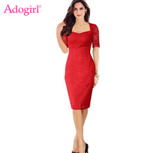 Adogirl Kate Middleton Plus Size Lace Dress Elegant Square Collar Half Sleeve Pencil Midi Dresses Ladies Office Dress Work Wear(China)