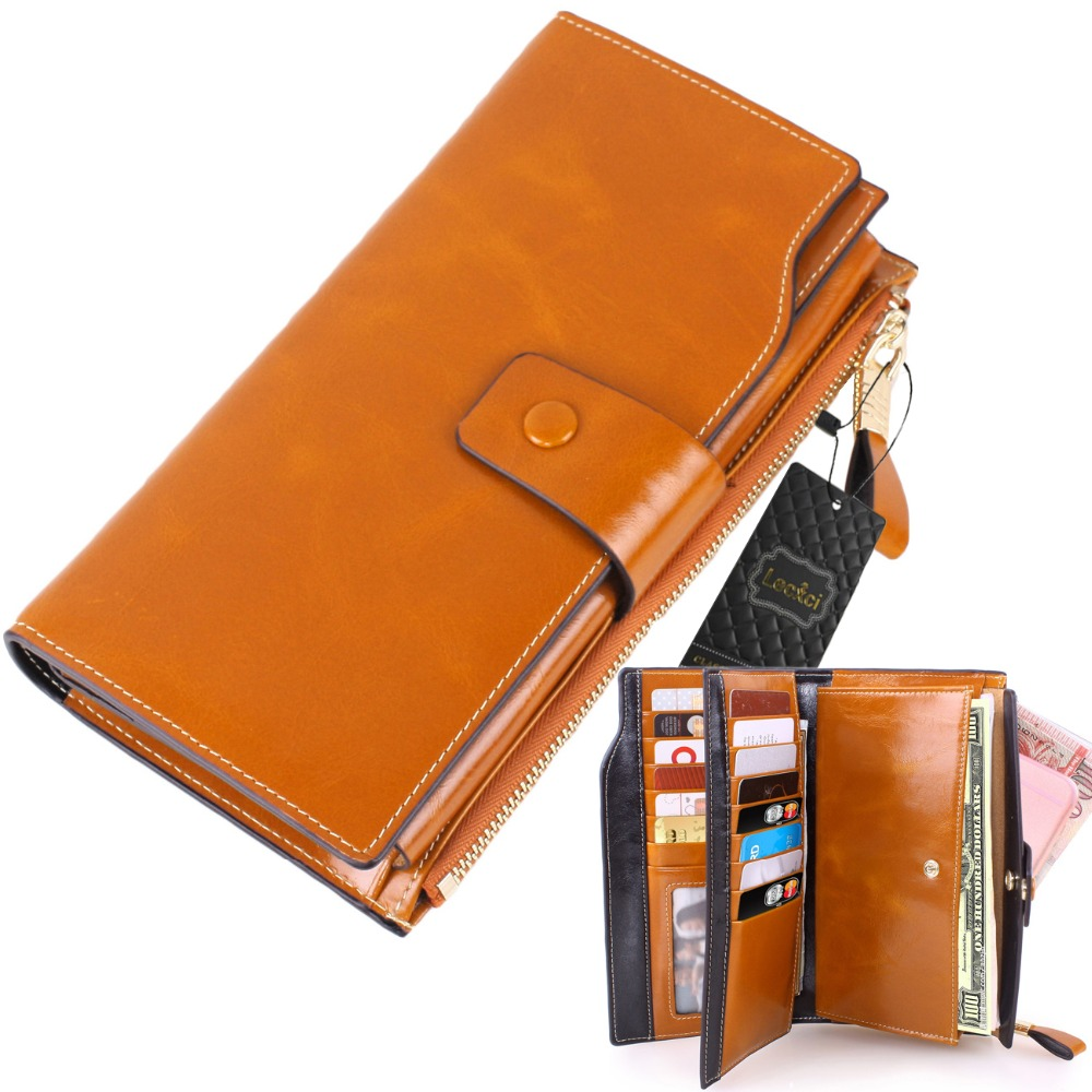 Lecxci Lady's Large Luxury Wallets Cowhide Leather Zipper Multi Card Cash Coin Change Clutch Wallet Purse with Cell Phone Holder large capacity women wallet leather card coin holder money clip long clutch phone wristlet trifold zipper cash female purse