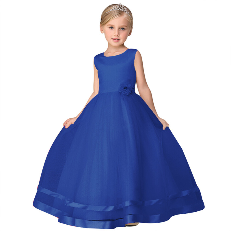 2018 New Arrival Children Girls Party Dress Kids Elegant Dresses for Wedding Prom Dress Blue Beige Red Kids Party Gowns цена