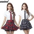 Классический плед студент форма юбка в складку шнурка украшения короткие рукава школьная форма ( + платье + галстук ) комплект одежды