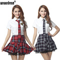Classic plaid student uniform pleated skirt set lace decoration dress short-sleeve school uniform (Shirt+Dress+Tie) Clothing set