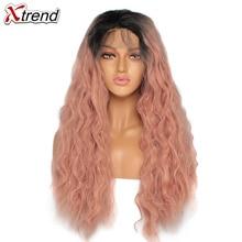 Peruca dianteira do laço sintético 180% densidade ombre perucas cor de rosa para preto encaracolado longo cabelo natural lacewig perruque rosa 14 & 24 polegadas
