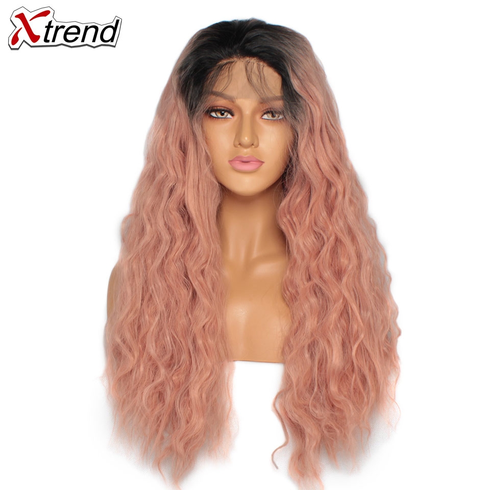 Lace Wigs Hair Extensions & Wigs Synthetic Lace Front Wig 180% Density Ombre Pink Wigs For Black Women Curly Long Natural Hair Lacewig Perruque Rose 14&24 Inch More Discounts Surprises