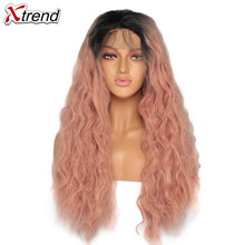 Synthetic Lace Front Wig 180% Density Ombre Pink Wigs For Black Women Curly Long Natural Hair Lacewig Perruque Rose 14&24 inch