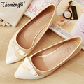 2016 new Fashion bow point toe flat shoes women ballet flats women 34-43 free shipping