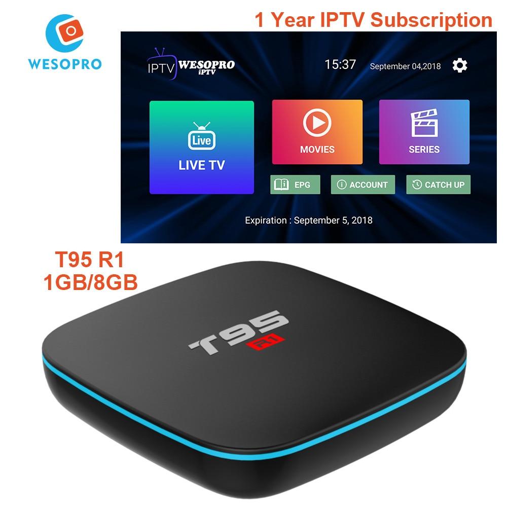Aufstrebend T95 R1 Android 7.1 Tv Box Und Arabisch Französisch Italien Deutsch Spanien Niederlande Polen Belgien Schweden Iptv Abonnement Live Kanäle Set-top Boxen