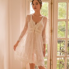 Yhotmeng2019 new two-piece ladies lace sexy nightdress female perspective flower summer strap set