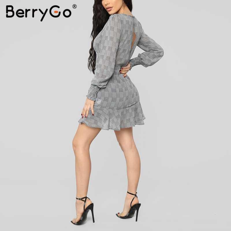 BerryGo/пикантные женские обтягивающие платья, платье в клетку, летнее платье с длинными рукавами и рюшами на шнуровке, элегантные офисные женские мини-платья