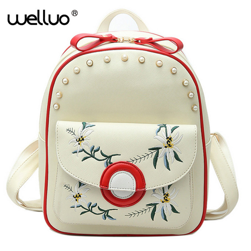 WELLVO Women Backpack Floral Embroidery Pearls Backpack White PU Leather Bag For Teenage Girls School