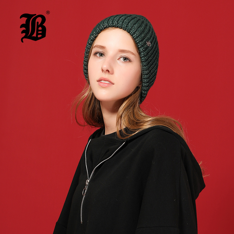 [FLB] New Brand Classic Design   Beanies   For Women Wool Knitted Hat Female Winter Hat Autumn Simple Ladies   Skullies     Beanies   17041