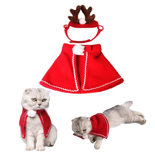 2018 Fun Wholesale Cat Dog Costumes cloaks mantle with buckhorn suit Headband set clothes Pet Puppy Product Christmas For Pet