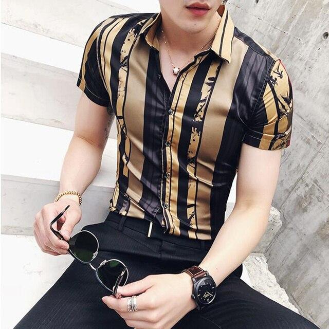 2019 premium brand Fashion Male summer stripe short sleeve shirts/Men's High quality lapel slim Club style Casual shirts S-3XL