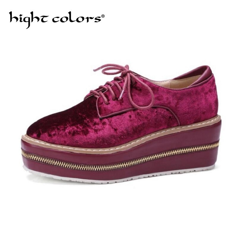 New Women High Wedge Heel Lace Up Oxfords Patent Leather Shoes Plus Size Creeper