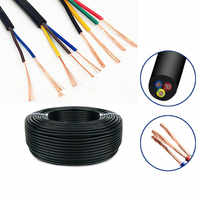 5Meter 24 AWG 22 AWG 20 AWG RVV 2/3/4/5/6/7/8 Cores Copper Wire Conductor Electric RVV Cable Black soft sheathed wire