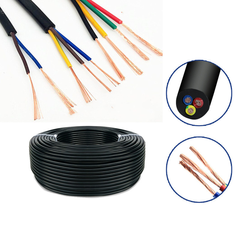 5Meter 24 AWG 22 AWG 20 AWG RVV 2/3/4/5/6/<font><b>7</b></font>/8 <font><b>Cores</b></font> Copper <font><b>Wire</b></font> Conductor Electric RVV Cable Black soft sheathed <font><b>wire</b></font> image