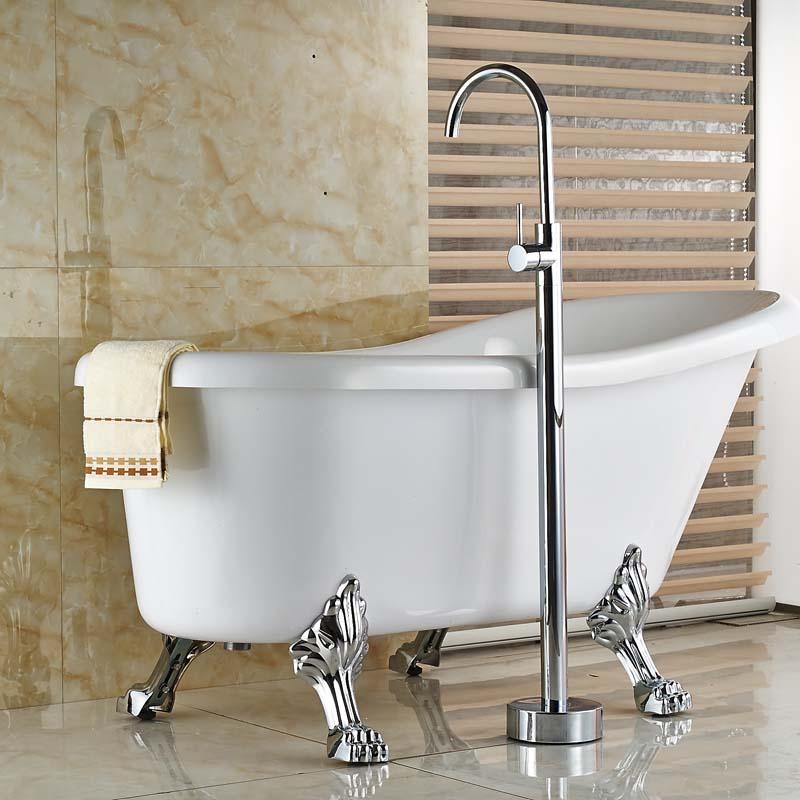 Modern Bathroom Floor Mount Clawfoot Bathtub Filler Faucet Free ...
