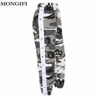 MONGIFI Camouflage Elastic High Waist Pants Women Side Button Harem Harajuku Pants Capris wayfarer Streetwear Camo sweatpants