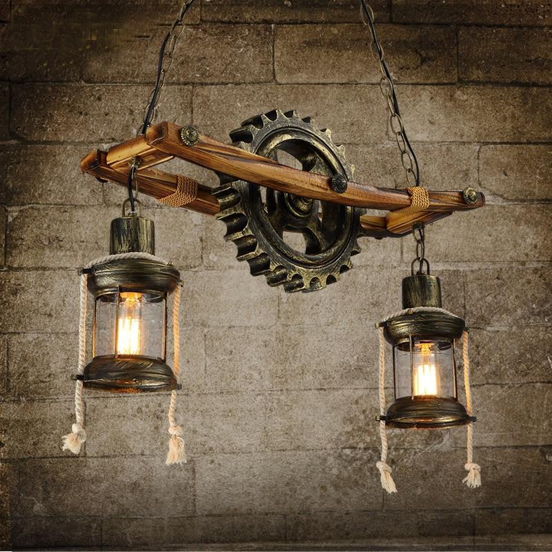 Hanging Garage Lights For Sale: Vintage Industrial Creative Real Wood&Resin Gear Art