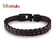 MKENDN Wholesale new fashion Men Vintage Coffee Leather Bracelet Easy-hook Bracelets & Bangles Punk Jewelry homme