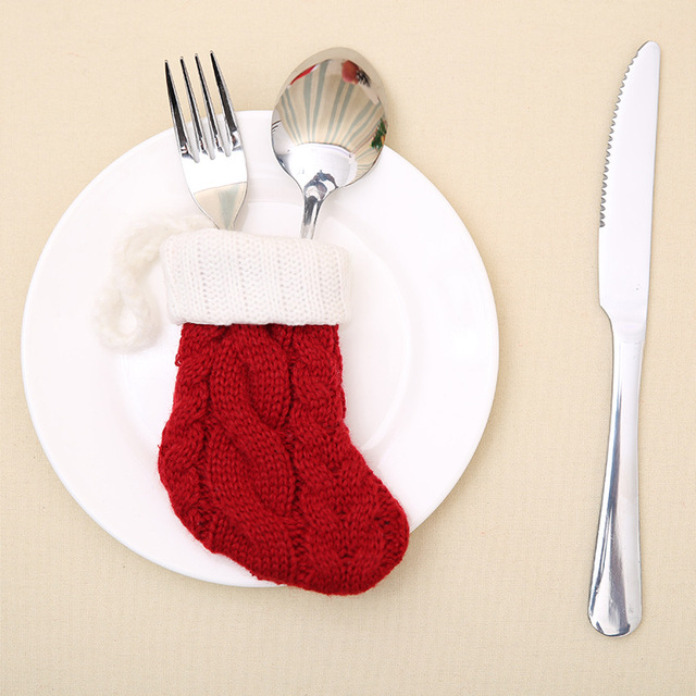 2pcslot christmas dinnerware stocking festival cute socks design christmas silverware holders christmas home decor - Christmas Silverware Holders