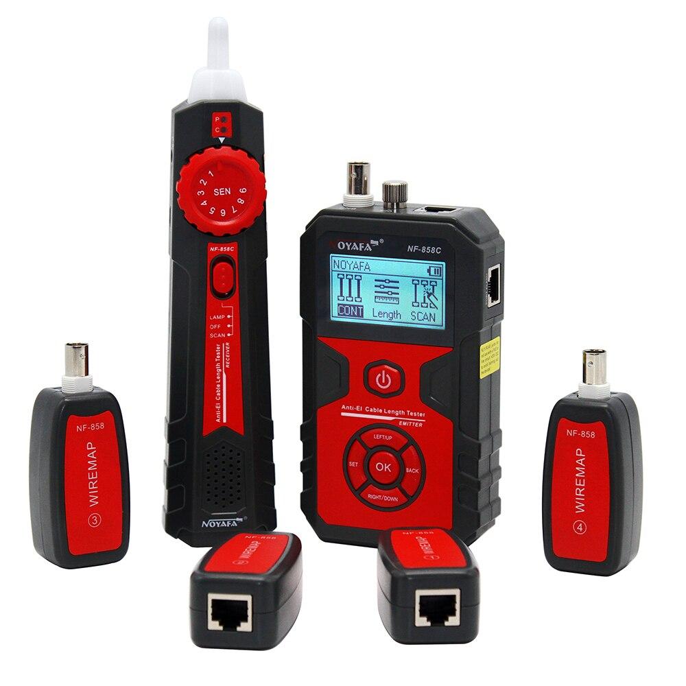 Noyafa NF858C LCD Cable Testers Fio Rastreador Localizar e Medir Lenth para RJ11/RJ45 Coaxial Cable Tester com VFL & Função NCV