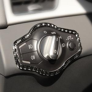 Image 2 - Cho Xe Audi A4 B8 A5 Q5 2010 2011 2012 2013 2014 2015 2016 Sợi Carbon Đèn Pha Nút Công Tắc Khung Bao miếng Dán Kính Cường Lực Viền