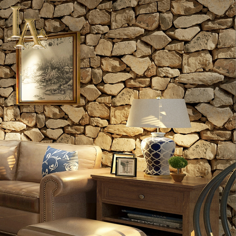 . US  19 6 30  OFF Vintage 3D Brick Stone Wallpaper For Walls Home Wall Paper  Rolls For Restaurant Bedroom Living Room Sofa TV Background Decor in