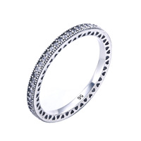 Authentic 925 Sterling Silver Ring Classics Stackable Leaves With Crystal Ring For Women Wedding Party Gift