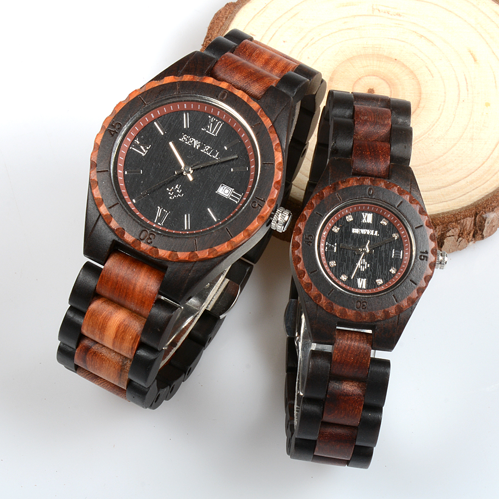 BEWELL Watches Two-Tone-Strap Wooden Antique Men Women Lover Band Quartz for in Gift-Box