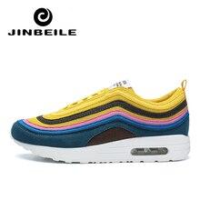 JINBEILE New Men Running Shoes For Men Lightweight Laces Sneakers Walking Shoes Air Cushion 97 Male Jogging Footwear Sports Shoe