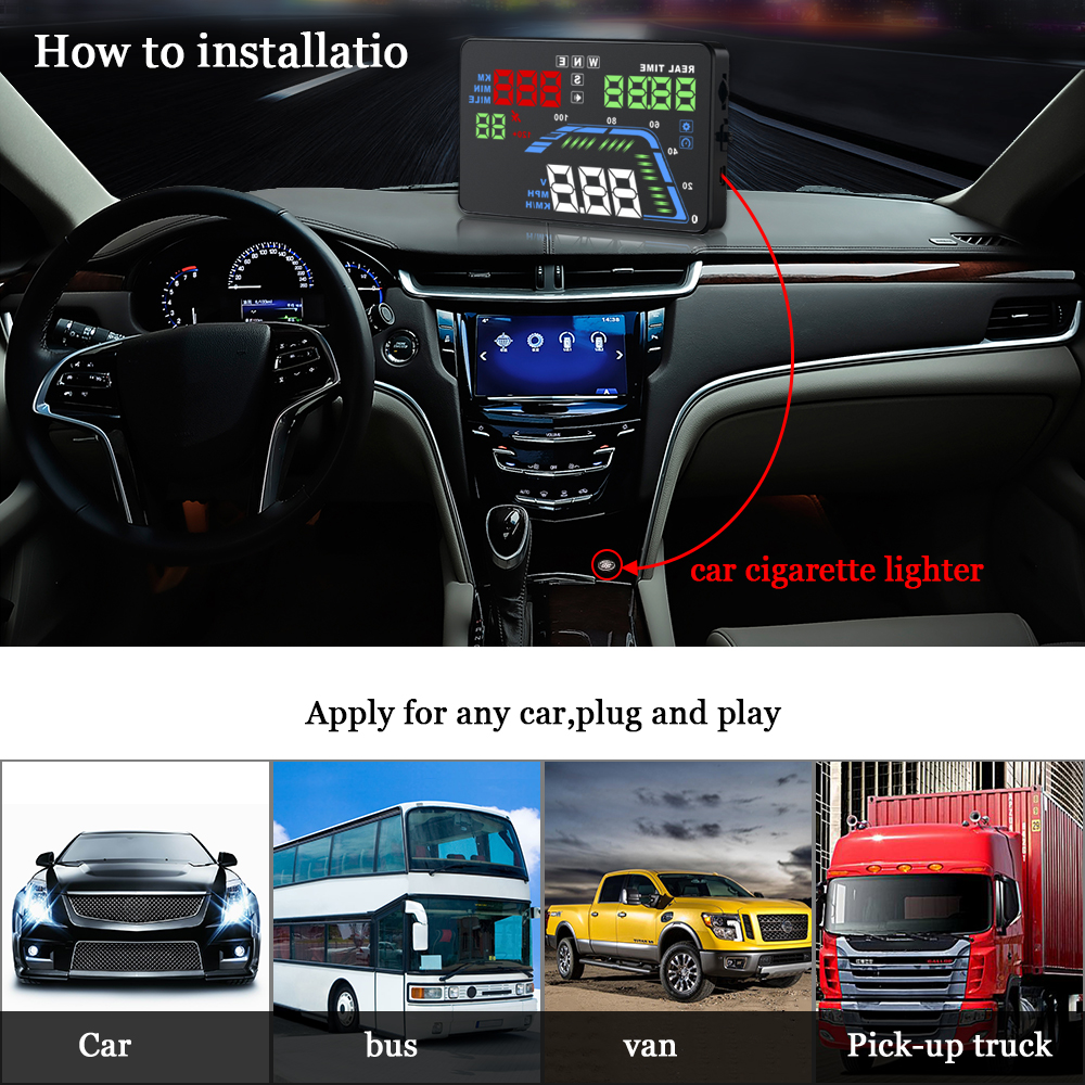 Image 5 - Auto Car HUD GPS Head Up Display HD 5.5'' Speedometers Overspeed Warning Dashboard Windshield Projector Multi Color Car Auto HUD-in Head-up Display from Automobiles & Motorcycles