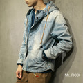 2016 autumn witner Japanese studio fashion style casual denim blue jackets men's coat retro slim jean jacket with a hood