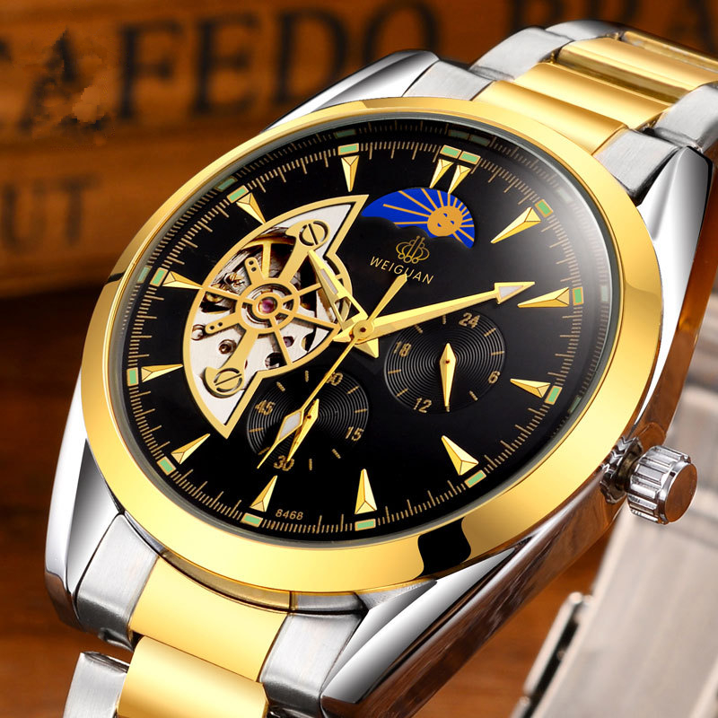 Moon Phase Mens Mechanical Watches Automatic Tourbillon Skeleton Stainless Steel Solid Watchband Gift