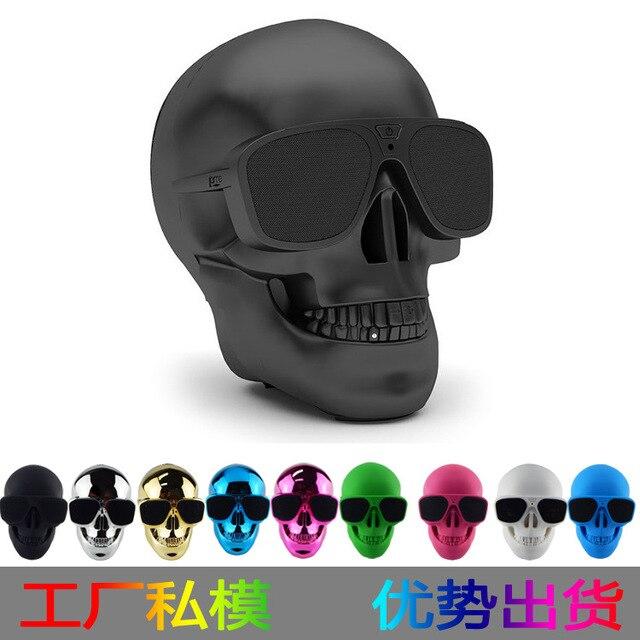 Plastic Metallic Skull Head Wireless Bluetooth Speaker Sunglass NFC Portable Skull Speaker Mobile Subwoofer Multipurpose Speaker