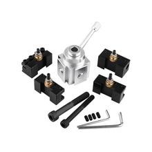 Alumínio mini torno ferramenta titular rápida mudança pós cortador suportes parafuso kit chato barra de torneamento enfrentando suporte chave com hex chaves