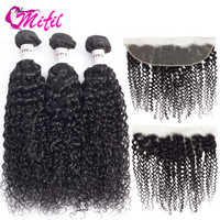 Mifil Indian Hair Curly Bundles With Frontal Lace Closure Natural Color Remy Human Hair 3 Bundles With Frontal Closure