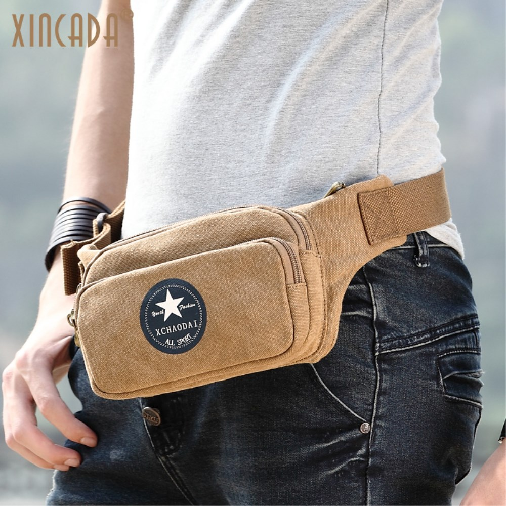 XINCADA Small Canvas Fanny Pack Waist Bag Travel Belt Bag Man Purse Small Bag Retro Fashion Five-pointed Star LOGO Blue Black