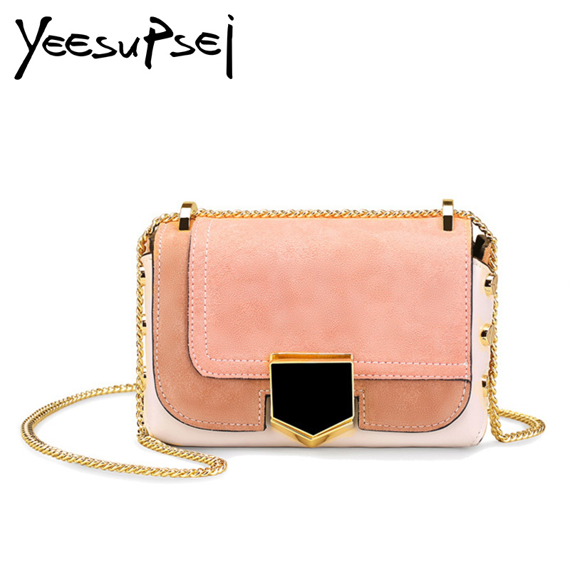 цены YeeSupSei Daily Bag Women Leather Handbag Golden Chain Small Women Messenger Bag Candy Color Women Shoulder Bag Party Lock Purse