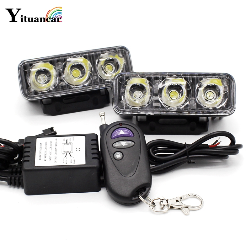 Yituancar 2x LED Strobe Flash Warning DRL Daytime Running Light Car Fog Work Lamp Source Waterproof 48W 12 Modes Dynamic Styling ...