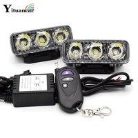Yituancar 2x LED Strobe Flash Waarschuwing DRL Dagrijverlichting auto Fog Werk Lamp Bron Waterdichte 48 W 12 Modi Dynamische Styling