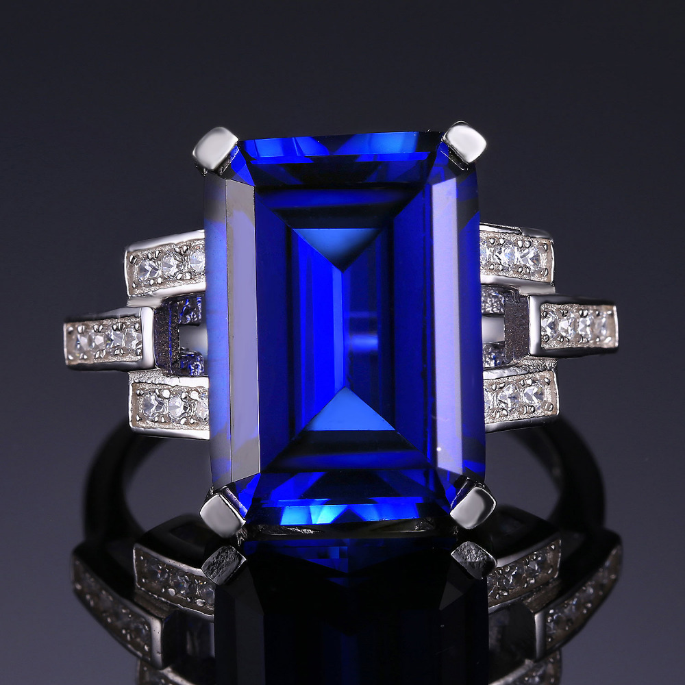 JewelryPalace Luxury Emerald Cut 96ct Created Blue Sapphire Cocktail Ring Genuine 925 Sterling