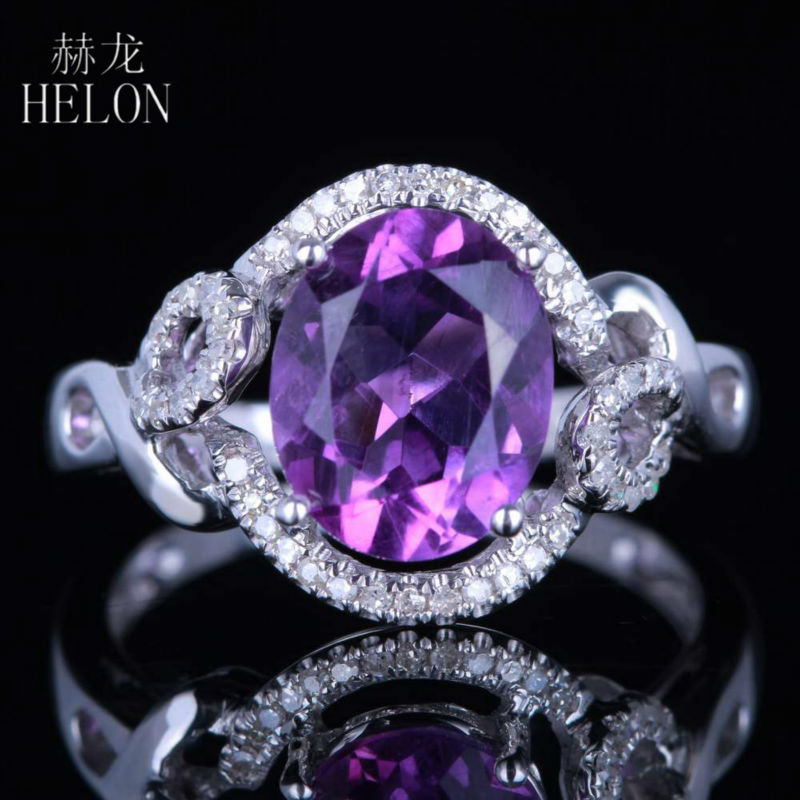 HELON Solid 14K White Gold 10x8mm Oval Cut 2.5ct Genuine Amethyst Natural Diamonds Womens Jewelry Engagement Wedding RingHELON Solid 14K White Gold 10x8mm Oval Cut 2.5ct Genuine Amethyst Natural Diamonds Womens Jewelry Engagement Wedding Ring